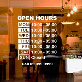 Open-hours Decal Set